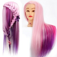"24 "" Colorful Hairdressing Cosmetology Salon Mannequin Head Manikin Training Head with Synthentic Fiber Hair + Clamp"