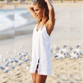 Summer Sea Beach Sexy Backless Vest Spaghetti Strap Dress V-neck One Piece Dress [256931430426]