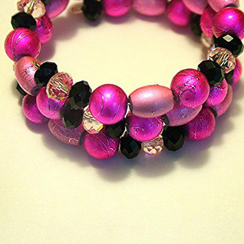 Cuff/Wrap Bracelet, 3 Strands, Pink and Black, Textured Glass Pearls, Crystal Rondelles, Handmade
