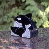 Orca carving black stone business card holder hand crafted office decoration