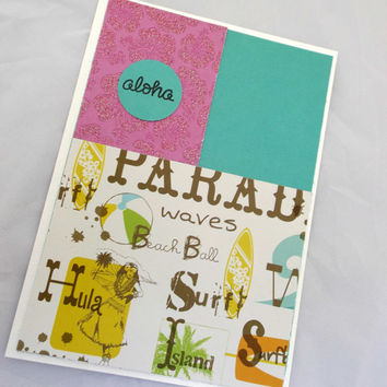 Summer Greeting Card - Hand Made Greeting Card - Beach Greeting Card -Handstamped Card - Hawaii cards - Tropical cards - Cards with flowers