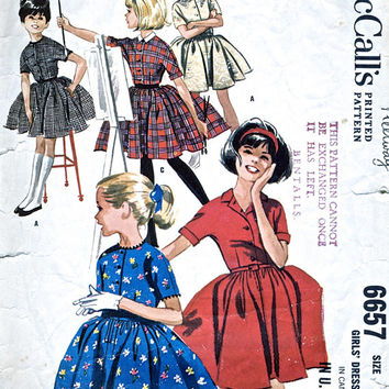 1960's Girls' Dress - 1960s - Vintage Dress Sewing Pattern - Full Skirt Dress - McCalls 6657 - Breast 28""