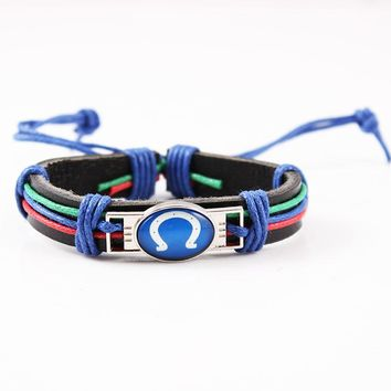 Rainbow Rope Leather Bracelet & Bangles US Football Men Jewelry Indianapolis Colts Team Logo Charms Bracelet 6pcs/lot