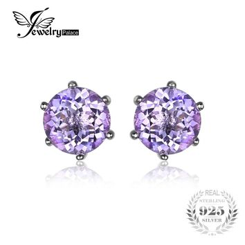 Round 1ct Gemstone Natural Amethyst Citrine Garnet Peridot Blue Topaz Earrings Stud 925 Sterling Silver Fine Jewelry 2016 Brand