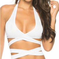 White Solid Color Wrap Around Top