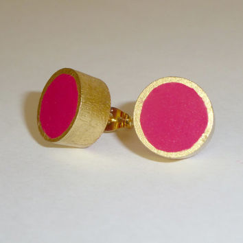 Raspberry pink and gold stud earrings, wood post earrings, colorblock earrings