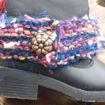 Boot Bracelet, Hand Knit, Detachable Vintage Button, Funky Accessory, Pink, Blue, Mauve, Brown, Novelty Yarns, Women's Fashion