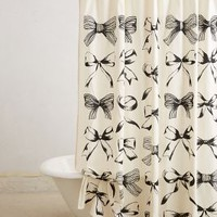 Bow-Tie Shower Curtain by Anthropologie Black Motif One Size Shower Curtains