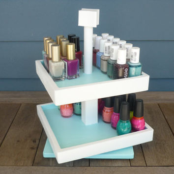 Nail Polish - Rotating - Storage - Organizer - 2 Tier - Table Top - Reclaimed Wood - Display - Color Block - (50 bottles)