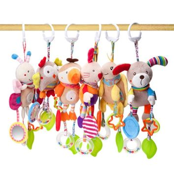 7 Styles Soft Plush Animals Bed Hanging Rattles Baby Toys Educational 1 Year Teether Wind  Chimes Baby Rattles for kids