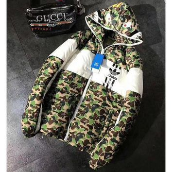 DCCK8H2 Adidas + Bape Shark Fashion Zipper Cardigan Jacket Coat Windbreaker Hooded G