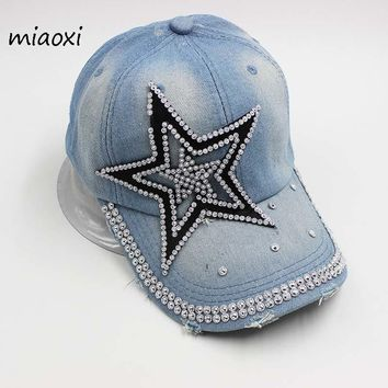 Trendy Winter Jacket miaoxi Best Sell Women Adult Fashion Baseball Cap Denim Star Hat For Lady Summer Sun Hats Rhinestone caps Snapback Women's Hat AT_92_12