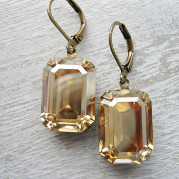 Art Deco Champagne Earrings, Bridesmaid Jewellery, Vintage Wedding, Light Topaz and Antique Brass, Ol Hollywood Glam