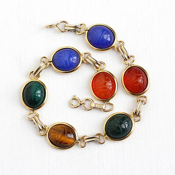 Vintage 12k Yellow Gold Filled Colorful Scarab Gem Bracelet - Retro 1950s Carved Beetle Bug Chalcedony Gemstones Egyptian Revival Jewelry