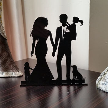 family wedding cake topper with girl, boys and dog, bride and groom silhouette, rustic cake topper, unique wedding cake topper, cake decor