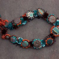 Crochet necklace, chunky necklace, fiber necklace, fiber jewelry, textile jewelry, brown turquoise orange, OOAK