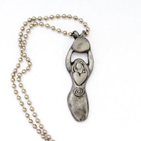 Steel Moon Goddess Talisman Necklace for Woman-Honoring Physical Connection to Universe-Made to Order in copper, bronze, fine silver too