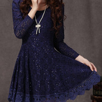 DESIGN LONG SLEEVE LACE DRESS