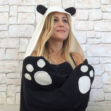 Panda Hooded Scarf, Panda Bear Cowl, Cosplay Hoodie, Scoodie Bear Scarf, Animal Hooded Cowl, Hoodie Halloween Costume, Cosplay Costume