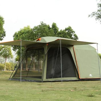 one hall one bedroom 5-8 person tent double layer high quality camping family tent