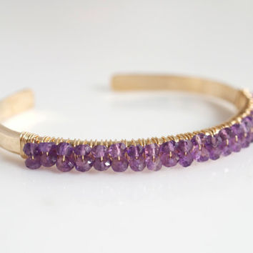 Amethyst Bangle Bracelet, Gemstone Bangle Bracelet, Purple Bracelet, Bridal Jewelry