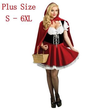 Hot Sexy Dress Plus Size S M L XL XXL XXXL-6XL Costume Adult Little Red Riding Hood Costume Halloween Cosplay Costumes For Women
