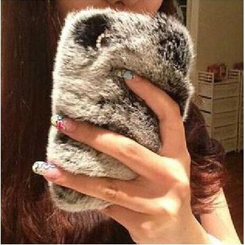 Bling Crystal Rhinestone Design Fluffy Soft Genuine Rabbit Fur Winter Warm Case for iPhone 7 7Plus & iPhone 6s 6 Plus & iPhone X 8 Plus with Gift Box