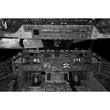 Space Shuttle Cockpit poster Metal Sign Wall Art 8in x 12in Black and White