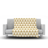 "Nika Martinez ""Glitter Triangles in Gold"" Tan Yellow Fleece Throw Blanket"