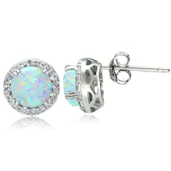 Sterling Silver 2.1ct Created Opal & White Topaz Halo Stud Earrings