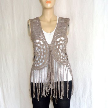 Hand made crochet vest for women,Lace pattern,Clothing woodstock fringe,Summer fashion.