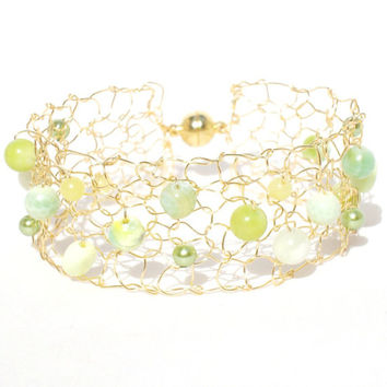 Spring Fresh Lemon Lime Gold Cuff Bracelet / Lace Mesh Arm Cuff / Beaded Thin Cuff / Summer Agate Green Chrysopase