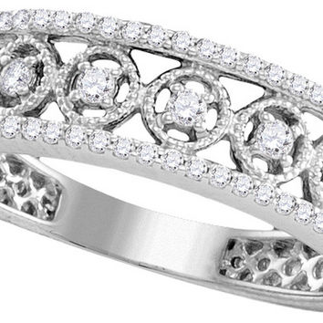 10kt White Gold Womens Round Diamond Filigree Symmetrical Band Ring 1/4 Cttw 109810