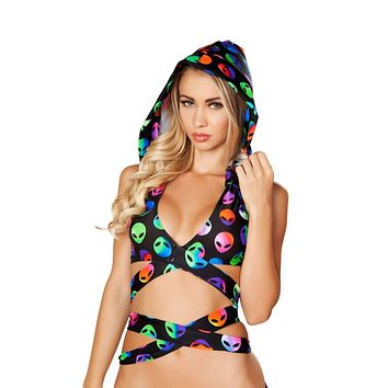 Roma Rave T3334 & T3268 - Printed Detachable Hooded Wrap Around Halter Top