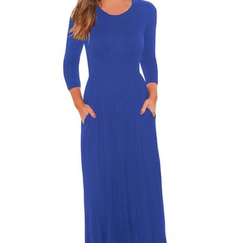 Chicloth Royal Blue Pocket Design 3/4 Sleeves Maxi Dress
