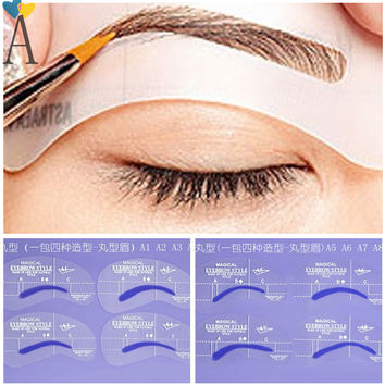 8pcs A Styles Brow Painted Eyebrow Pencil Stencils Model Template Stencil for Eye Eyebrow Free Shipping