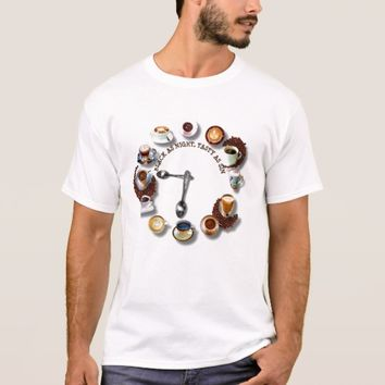 Cups Of Black Coffee With Beans As A Clock T-Shirt