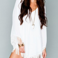 Show Me Your Mumu White Crisp Fringe Rodeo Dress