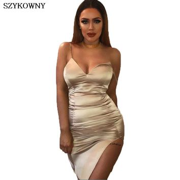 Szykowny Women Summer Dress 2017 Modern Bodycon Dress Spaghetti Strap High Slit Super-Soft Satin Sexy Mini Dress Vestidos