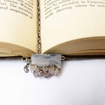 Amethyst Geode Slice Pendant Sterling Silver Necklace