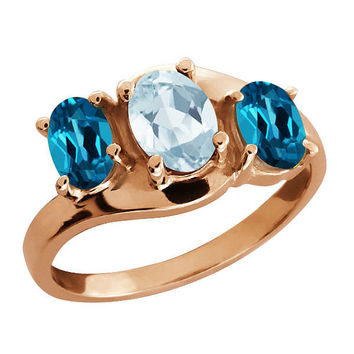 2 Carat Aquamarine and London Blue Topaz Oval Ring 14Kt Rose Gold Plated