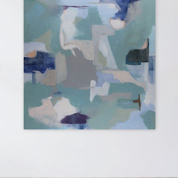 Mint Green, Pastel Colors Abstract Landscape Painting, 36 x 36