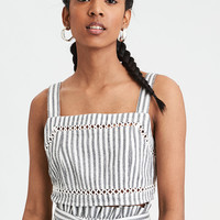 AE Smocked Eyelet Crop Top, Black