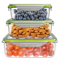 Glass Food Storage Containers with Lids, Set of 6