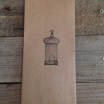 Antique birdcage hand stamped favor bags