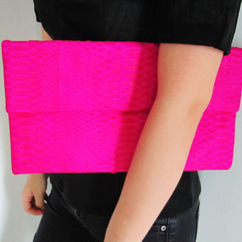 Oversize Neon Pink Fold Over Python Snakeskin Leather by linmade