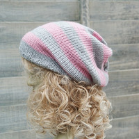 Pink and Grey Gray Stripey Knitted Slouchy Slouchy Knit Beanie Skater Hat Dreads Tam Unisex