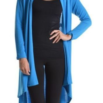 Career Hi-Low Hem Long Sleeve Open Front Slim Draped Lightweight Cardigan