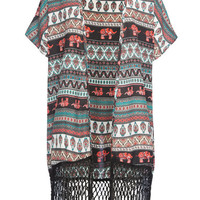 Full Tilt Elephant Print Girls Kimono Multi  In Sizes