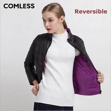 COMLESS New Women 2017 Reversible Down Padded Jacket Stand Collar Zip Up Double Side Fashion Brand Ultralight Down Jacket